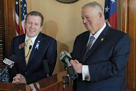 State Rep. Bert Reeves being applauded by Speaker David Ralston